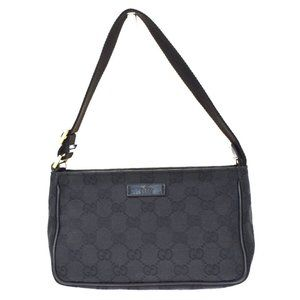 GUCCI GG Pattern Logos Hand Bag Canvas Leather Black Gold Plated Italy 69BT797